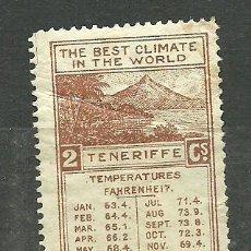 Sellos: 0268 TENERIFE CENTRO DE PROPAGANDA Y FOMENTO DEL TURISMO - THE BEST CLIMATE IN DE WORLD- CASTAÑO). Lote 23821883