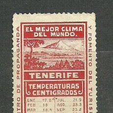 Sellos: 0268 TENERIFE CENTRO DE PROPAGANDA Y FOMENTO DEL TURISMO -EL MEJOR CLIMA DEL MUNDO- (ROJO). Lote 23821913