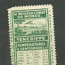 Sellos: 0268 TENERIFE CENTRO DE PROPAGANDA Y FOMENTO DEL TURISMO -LE MILLEUR CLIMAT DU MONDE- (VERDE). Lote 23821934