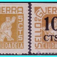 Sellos: BALEARES, CIUDADELA. GUERRA CIVIL, FESOFI Nº 12 Y 13 *. Lote 24799812