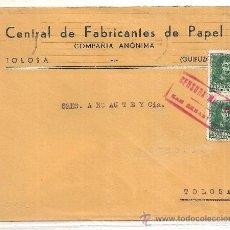 Sellos: CENSURA MILITAR DE SAN SEBASTIÁN. SOBRE DE FABRICANTES DE PAPEL DE TOLOSA. Lote 24871038