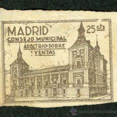 Sellos: SELLO ** CONSEJO MUNICIPAL ARBITRIO SOBRE VENTAS MADRID ** 25 CTS (VER OFERTAS EN SOBRES Y POSTALES). Lote 27104511