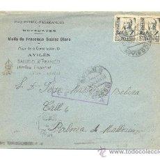 Sellos: CARTA DE AVILES OVIEDO 1938 A PALMA DE MALLORCA CENSURA MILITAR Y SALUDO A FRANCO PAQUETERIA-PASAMAN. Lote 25761687