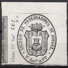 Sellos: 088A-SELLO FISCAL ESPAÑA BURGOS COLEGIO PROCURADORES 10 CENTIMOS 1870 NEGRO. Lote 26010189
