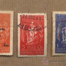 Sellos: COLEGIO DE HUÉRFANOS DE CORREOS. NTRA.SRA. DEL PILAR. MATASELLOS REUS. VIÑETAS. Lote 26261478