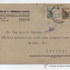 Sellos: TARJETA CON MEMBRETE. DE HUELVA A SEVILLA. FRANQUEADO Y FECHADO 2 -9-1938. III AÑO TRIUNFAL. CEN-. Lote 26631762