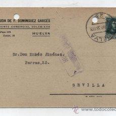 Sellos: POSTAL CON MEMBRETE. DE HUELVA A SEVILLA. FRANQUEADO Y FECHADO 27-JUNIO-1938. II AÑO TRIUNFAL-. Lote 26632027