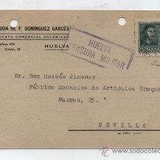 Sellos: TARJETA CON MEMBRETE. DE HUELVA A SEVILLA. FRANQUEADO Y FECHADO 15 -6-1938. II AÑO TRIUNFAL. CEN-. Lote 26632176