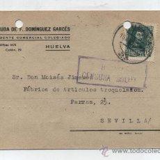 Sellos: TARJETA CON MEMBRETE. DE HUELVA A SEVILLA. FRANQUEADO Y FECHADO 15 -8-1938. III AÑO TRIUNFAL. CEN-. Lote 26632248