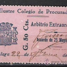 Sellos: 0339-SELLO FISCAL COLEGIO PROCURADORES DE MALAGA AÑO 1916,ESCUDO DISTINTO,50 CENTIMOS,SIN DEFECTOS. Lote 26629173