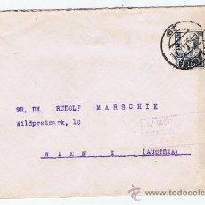 Sellos: CIRCULADO 1937 DE ZARAGOZA A VIENA CON CENSURA MILITAR. Lote 27176756