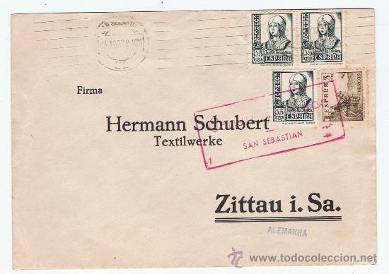 CIRCULADO 1938 DE SAN SEBASTIAN A ALEMANIA CON CENSURA MILITAR (Sellos - España - Guerra Civil - De 1.936 a 1.939 - Cartas)