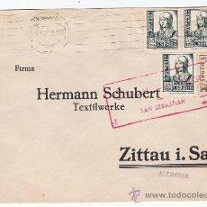 Sellos: CIRCULADO 1938 DE SAN SEBASTIAN A ALEMANIA CON CENSURA MILITAR. Lote 27177181