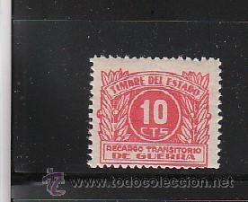 TIMBRE DEL ESTADO. 10 CTS. RECARGO TRANSITORIO DE GUERRA (Sellos - España - Guerra Civil - De 1.936 a 1.939 - Nuevos)