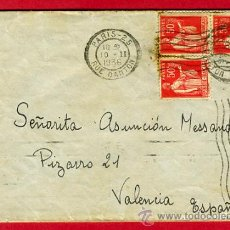Sellos: SOBRE CARTA , GUERRA CIVIL , 1936 ,PARIS VALENCIA , ORIGINAL , S71. Lote 27733236