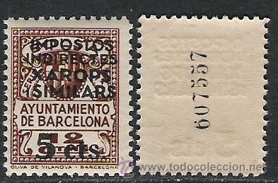 0675-SELLO FISCAL BARCELONA GUERRA CIVIL SOBRECARGA HABILITADO USO FISCAL,SELLO LOCAL NUEVO ** (Sellos - España - Guerra Civil - Viñetas - Nuevos)