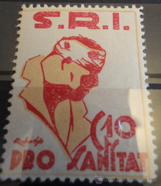 VIÑETA SRI 10 CTS PRO SANITAT.REPÚBLICA (Sellos - España - Guerra Civil - De 1.936 a 1.939 - Usados)