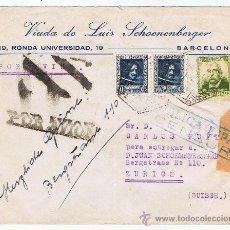 Sellos: CIRCULADO 1938 DE BARCELONA A ZURICH CON CENSURA MILITAR REPUBLICANA. Lote 28486965