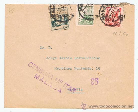 CIRCULADO 1937 DE MALAGA A SEVILLA CON CENSURA MILITAR (Sellos - España - Guerra Civil - De 1.936 a 1.939 - Cartas)