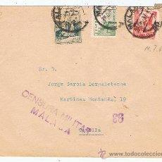 Sellos: CIRCULADO 1937 DE MALAGA A SEVILLA CON CENSURA MILITAR. Lote 28487141