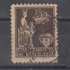 Sellos: ,,BARCELONA 23P PAPEL GRIS USADA, VIRGEN DE LA MERCED, . Lote 28499248