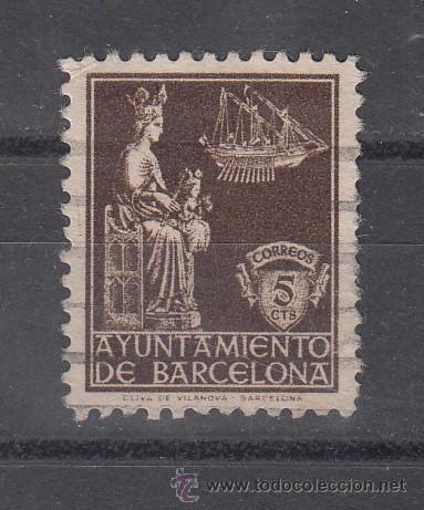 ,,BARCELONA 23 USADA, VIRGEN DE LA MERCED, (Sellos - España - Guerra Civil - Beneficencia)