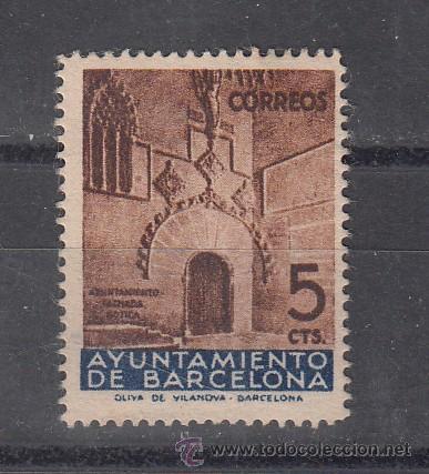 ,,BARCELONA 13 SIN GOMA, PUERTA GOTICA DEL AYUNTAMIENTO (Sellos - España - Guerra Civil - Beneficencia)