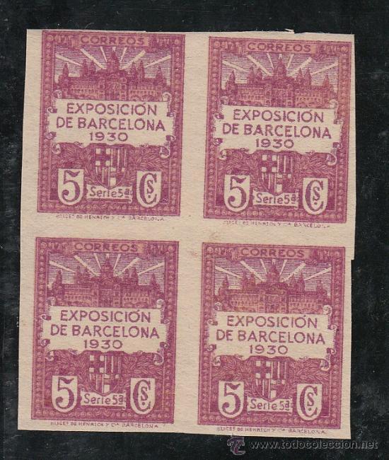 ,,BARCELONA 5S EN B4 SIN DENTAR SIN GOMA, VISTA EXPOSICION Y ESCUDO DE LA CIUDAD, (Sellos - España - Guerra Civil - Beneficencia)