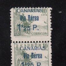 Sellos: ,,CANARIAS 46HAA PAREJA SIN GOMA, 1 SELLO VARIEDAD -25- ALINEADO CON LA PARTE SUPERIOR DE LA -P- . Lote 28512498