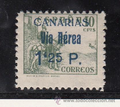 ,,CANARIAS 46HAA SIN CHARNELA, VARIEDAD -25- ALINEADO CON LA PARTE SUPERIOR DE LA -P- (Sellos - España - Guerra Civil - Beneficencia)