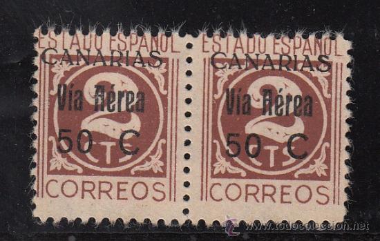 ,,CANARIAS 44 PAREJA SIN GOMA, VARIEDAD SELLOS -T- DE CTS DEFORMADAS Y 2º SELLO SIN PUNTA IZDA DEL 2 (Sellos - España - Guerra Civil - Beneficencia)