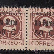 Sellos: ,,CANARIAS 44 PAREJA SIN GOMA, VARIEDAD SELLOS -T- DE CTS DEFORMADAS Y 2º SELLO SIN PUNTA IZDA DEL 2. Lote 28512685