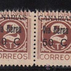 Sellos: ,,CANARIAS 44 PAREJA SIN GOMA, VARIEDAD EN SELLOS DERECHO -T- DE CTS DEFORMADAS. Lote 28512702