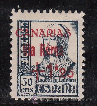 ,,CANARIAS 51 SIN GOMA, SOBRECARGADO, (Sellos - España - Guerra Civil - Beneficencia)