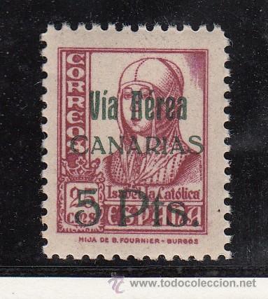 ,,CANARIAS 48 SIN CHARNELA, SOBRECARGADO (Sellos - España - Guerra Civil - Beneficencia)