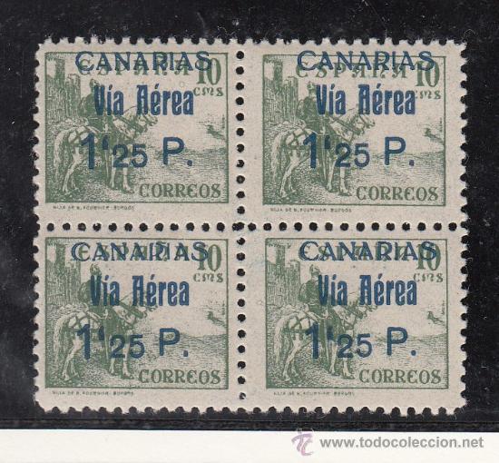 ,,CANARIAS 46 EN B4 SIN CHARNELA, SOBRECARGADO (Sellos - España - Guerra Civil - Beneficencia)