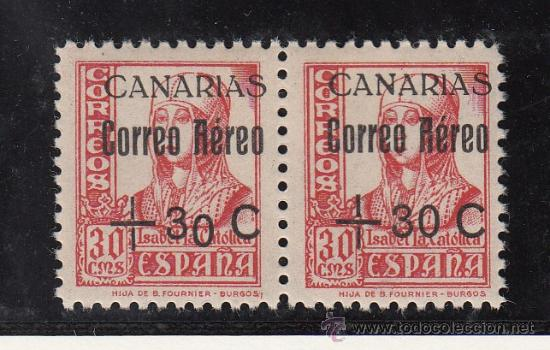 ,,CANARIAS 40HA, 40 PAREJA SIN CHARNELA, SOBRECARGADO, VARIEDAD SOBRECARGA -0- DE + 30 CAIDO, (Sellos - España - Guerra Civil - Beneficencia)