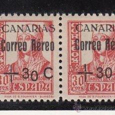 Sellos: ,,CANARIAS 40HA, 40 PAREJA SIN CHARNELA, SOBRECARGADO, VARIEDAD SOBRECARGA -0- DE + 30 CAIDO, . Lote 28557970
