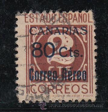 ,,CANARIAS 38 CON PIE DE IMPRENTA USADA, SOBRECARGADO, (Sellos - España - Guerra Civil - Beneficencia)