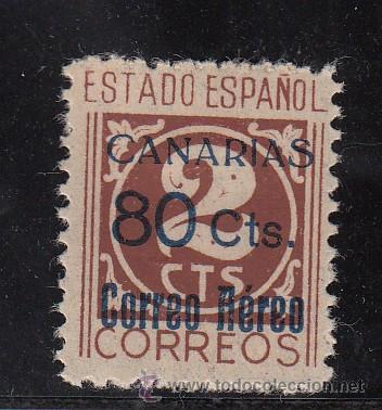 ,,CANARIAS 38 SIN PIE DE IMPRENTA CON CHARNELA, SOBRECARGADO, (Sellos - España - Guerra Civil - Beneficencia)