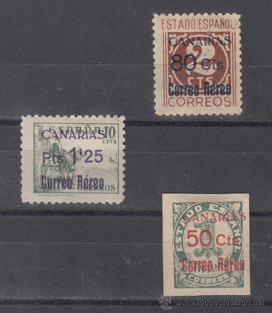 ,,CANARIAS 37/9 CON CHARNELA, SOBRECARGADO, (Sellos - España - Guerra Civil - Beneficencia)