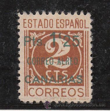 ,,CANARIAS 36 CASTAÑO CLARO SIN GOMA, SOBRECARGADO, VARIEDAD -E- DE AEREO SIN TRAZO Y SIN ACENTO, (Sellos - España - Guerra Civil - Beneficencia)
