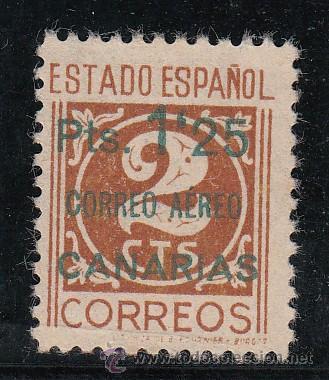 ,,CANARIAS 36 CASTAÑO CLARO SIN GOMA, SOBRECARGADO, CATALOGO AURIOLES 47B (Sellos - España - Guerra Civil - Beneficencia)