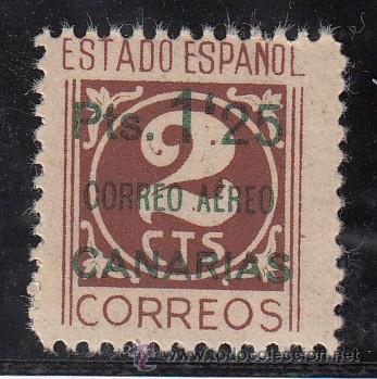 ,,CANARIAS 36 SIN PIE DE IMPRENTA SIN CHARNELA, SOBRECARGADO, (Sellos - España - Guerra Civil - Beneficencia)
