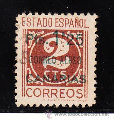 ,,CANARIAS 36 CON PIE DE IMPRENTA USADA, SOBRECARGADO, (Sellos - España - Guerra Civil - Beneficencia)