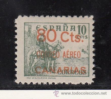 ,,CANARIAS 35 CON CHARNELA, SOBRECARGADO (Sellos - España - Guerra Civil - Beneficencia)