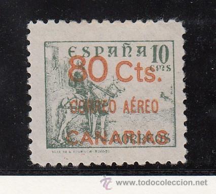 ,,CANARIAS 35 SIN GOMA, SOBRECARGADO, VARIEDAD PAPEL DELGADO, (Sellos - España - Guerra Civil - Beneficencia)