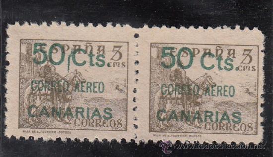 ,,CANARIAS 34 PAREJA SIN GOMA, SOBRECARGADO, VARIEDAD SELLO IZDA. RAYA VERTICAL VERDE ENTRE 50 Y CTS (Sellos - España - Guerra Civil - Beneficencia)