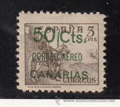 ,,CANARIAS 34 CON CHARNELA, SOBRECARGADO, VARIEDAD RAYA VERTICAL VERDE ENTRE 50 Y CTS. (Sellos - España - Guerra Civil - Beneficencia)
