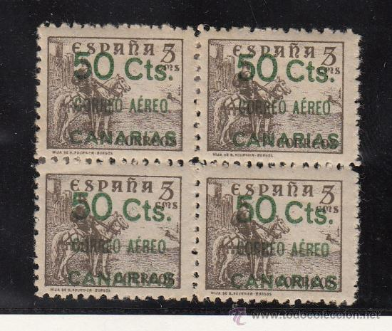 ,,CANARIAS 34 EN B4 CON CHARNELA, SOBRECARGADO, (Sellos - España - Guerra Civil - Beneficencia)